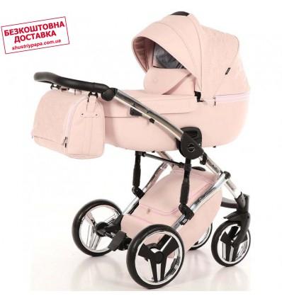 Детская коляска 2 в 1 Tako Junama Enzo Go 02 розовая на серебряной раме