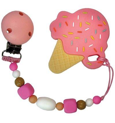 Прорізувач для зубів Tiny World Морозиво рожевий