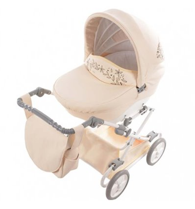 Коляска для куклы Junama Mini 02 Светло бежевая эко кожа