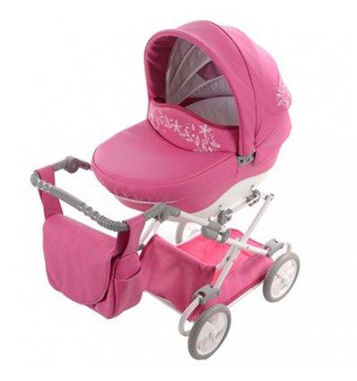 Коляска для куклы Junama Mini 06 Розовая эко кожа