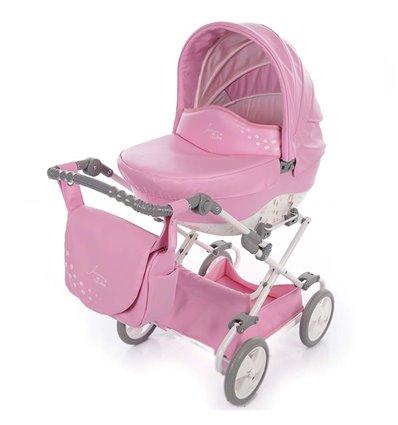 Коляска для куклы Junama Mini A01 Animals Розовая эко кожа