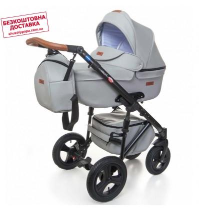Детская коляска 2 в 1 Broco Capri эко кожа светло серая