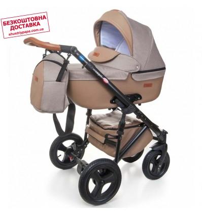 Детская коляска 2 в 1 Broco Capri текстиль капучино