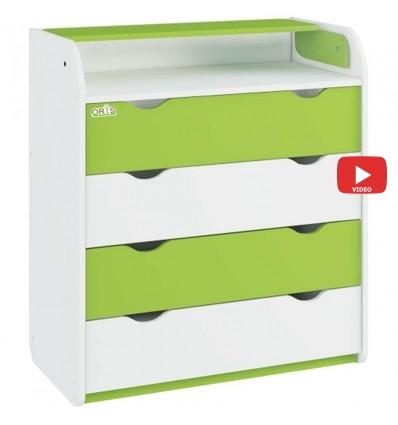 Комод-пеленатор Oris NEW на 4 ящика 025 бело-зеленый