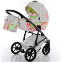 Детская коляска 2 в 1 Tako Neon 01 белая, серебристая рама