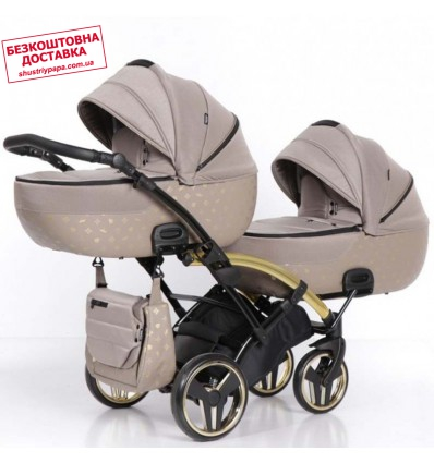 Универсальная коляска для двойни Tako Laret Imperial Duo Slim 02 коричневая