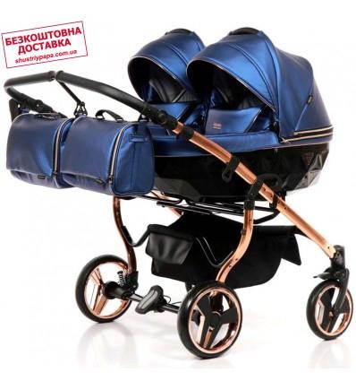Универсальная коляска для двойни Junama Fluo Duo синяя