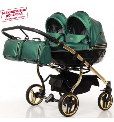 Универсальная коляска для двойни Junama Fluo Duo зеленая