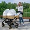 Универсальная коляска для двойни Junama Mirror Satin Duo 06 White Gold