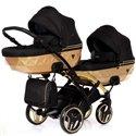 Универсальная коляска для двойни Junama Mirror Satin Duo Slim 03 Gold