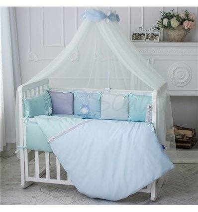 Детский постельный комплект Маленькая Соня Зайчики голубой