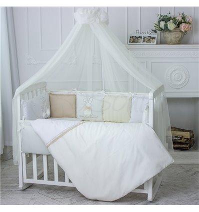 Детский постельный комплект Маленькая Соня Зайчики молочный