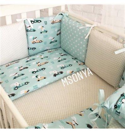 Детский постельный комплект Маленькая Соня Baby Design Премиум Гонщики
