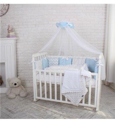 Детский постельный комплект Маленькая Соня Shine голубой зигзаг