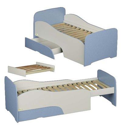 Подростковая кроватка трансформер Oris Flora бело-голубая