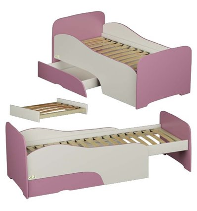 Подростковая кроватка трансформер Oris Flora бело-розовая