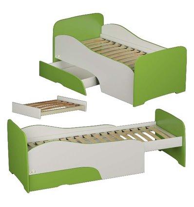 Подростковая кроватка трансформер Oris Flora бело-зеленая