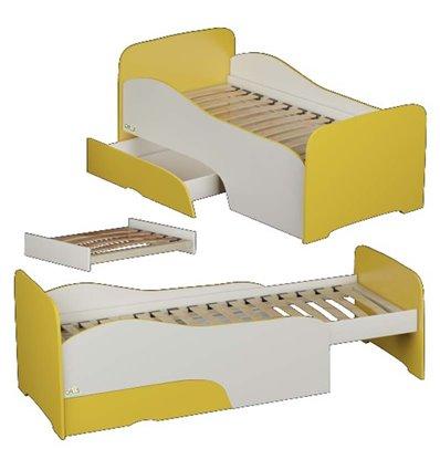 Подростковая кроватка трансформер Oris Flora бело-желтая