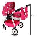 Коляска для куклы Adbor Lily Sport LS-09 розовая, горошек на розовом