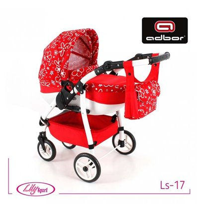 Коляска для куклы Adbor Lily Sport LS-17 красная, цветы маленькие на красном