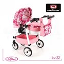 Коляска для куклы Adbor Lily Sport LS-22 светло розовая, цветы новые на малиновом