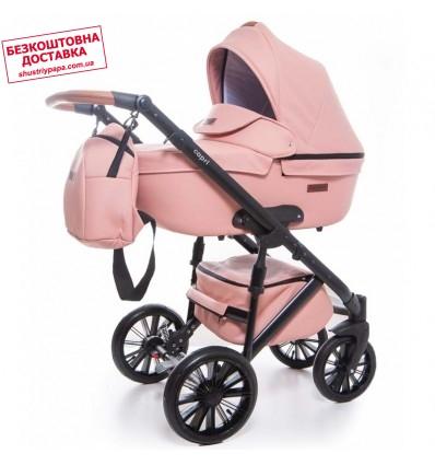 Детская коляска 2 в 1 Broco Capri эко кожа розовая