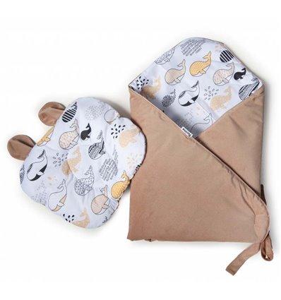 Конверт-плед с подушкой Twins Bear 100x100 caramel