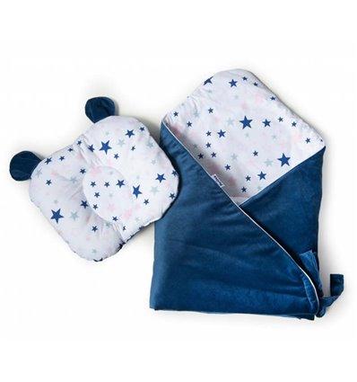 Конверт-плед с подушкой Twins Bear 100x100 dark blue