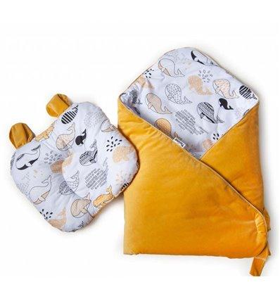 Конверт-плед с подушкой Twins Bear 100x100 melon