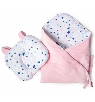 Конверт-плед с подушкой Twins Bear 100x100 pink