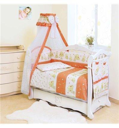 Детский постельный комплект Twins Standart 8 эл. C-018 Мишки со звездами терракотовый