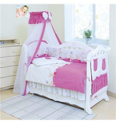 Детский постельный комплект Twins Standart 8 эл. C-019 Горошки розовый