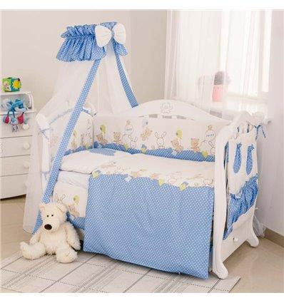 Детский постельный комплект Twins Standart 8 эл. C-020 Горошки голубой