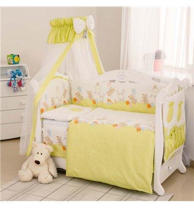 Детский постельный комплект Twins Standart 8 эл. C-022 Горошки зеленый