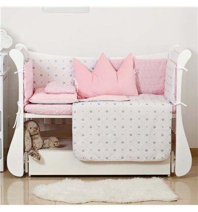Детский постельный комплект Twins Dolce Insta 6 эл. D-500 Корона розовый