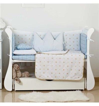 Детский постельный комплект Twins Dolce Insta 6 эл. D-501 Корона голубой