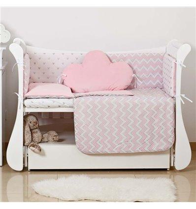 Детский постельный комплект Twins Dolce Insta 6 эл. D-503 Микки розовый с серебром