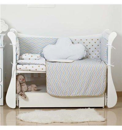 Детский постельный комплект Twins Dolce Insta 6 эл. D-504 Микки голубой с золотом