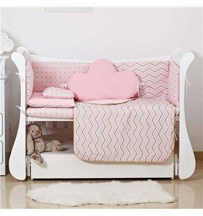 Детский постельный комплект Twins Dolce Insta 6 эл. D-507 Зигзаг розовый с золотом