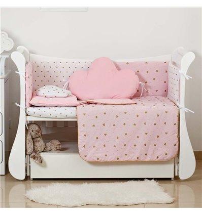 Детский постельный комплект Twins Dolce Insta 6 эл. D-508 Сердечки розовый с золотом