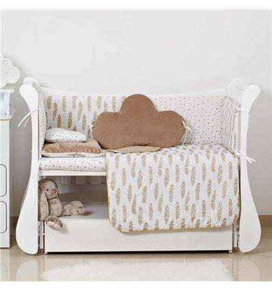 Детский постельный комплект Twins Dolce Insta 6 эл. D-511 Перышки бежевый с золотом