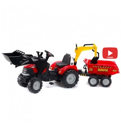 Трактор педальный с прицепом и 2 ковшами Falk 995W CASE IH PUMA