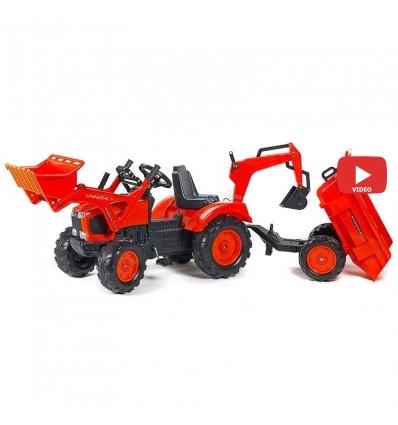 Трактор педальный с прицепом и 2 ковшами Falk 2090Z Kubota