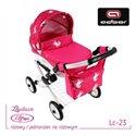 Коляска для ляльки Adbor Lily Lc23 рожева, єдиноріг на рожевому