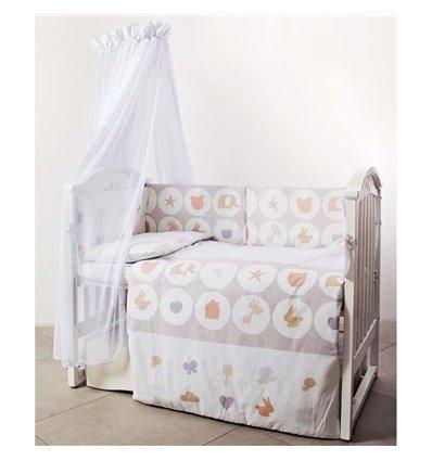 Детский постельный комплект Twins Eco Line 6 эл. E-020 Animals beige