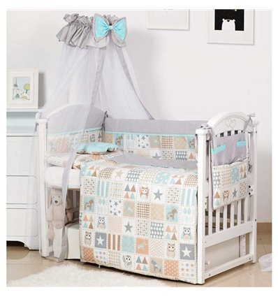 Детский постельный комплект Twins Modern 8 эл. P-114 Сова Grey
