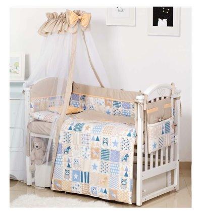 Детский постельный комплект Twins Modern 8 эл. P-115 Сова Beige