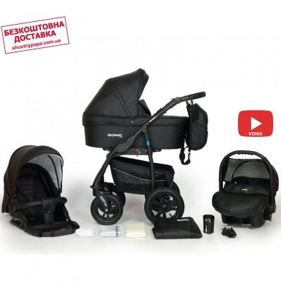 Дитяча коляска 3 в 1 Verdi Sonic Plus 02 чорна з фіолетовим