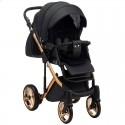Детская коляска 2 в 1 Adamex Chantal Polar Gold Star 101 черная