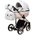 Детская коляска 2 в 1 Adamex Chantal Polar Gold Star 106 белая